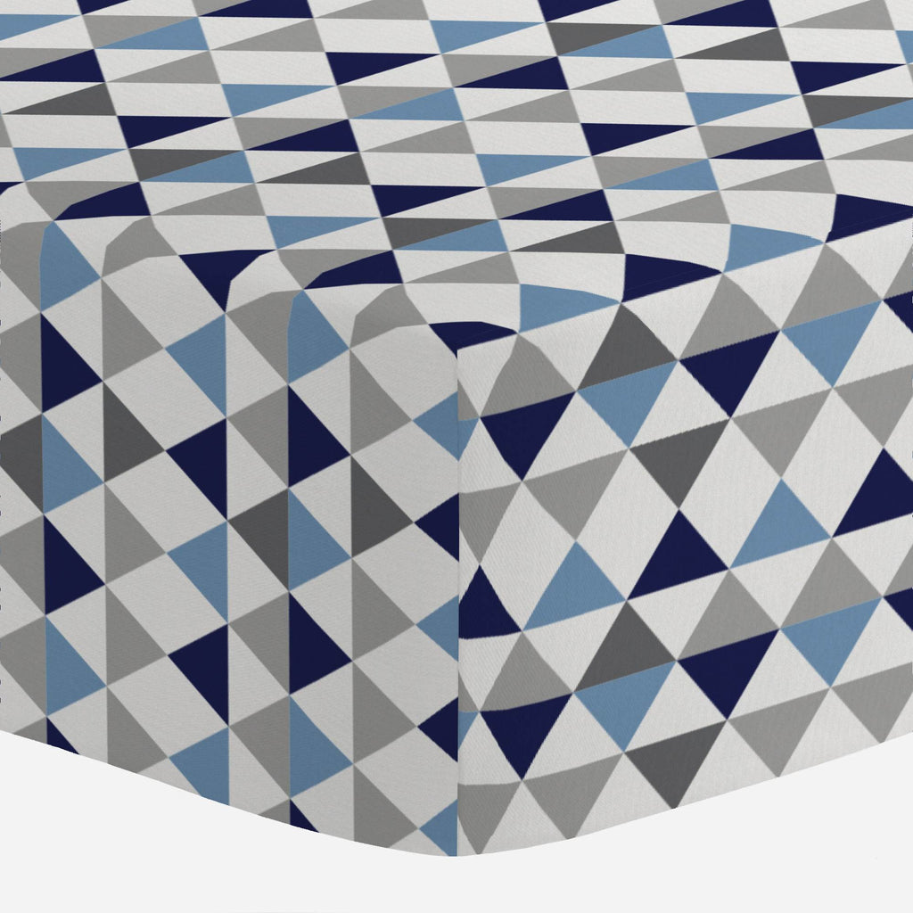 Product image for Gray and Blue Triangles Crib Sheet