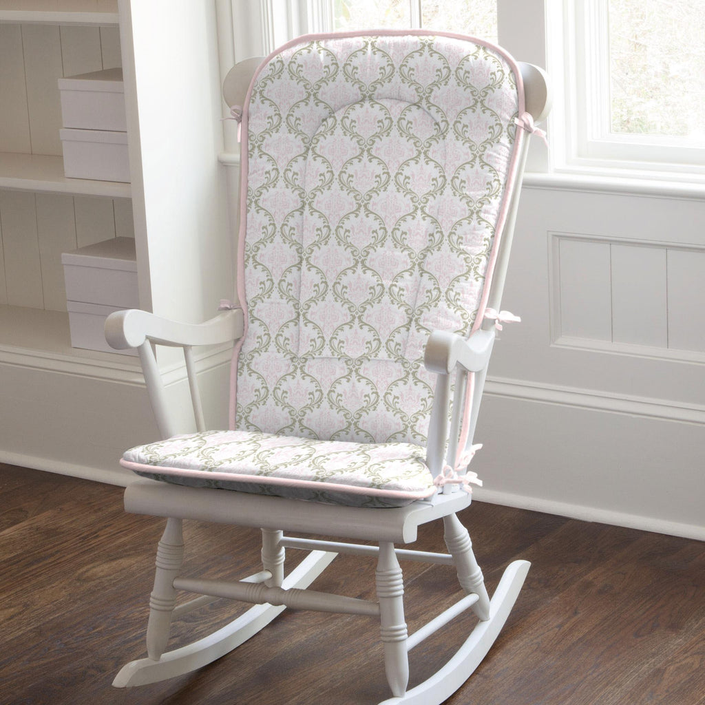 Product image for Pink and Taupe Damask Rocking Chair Pad