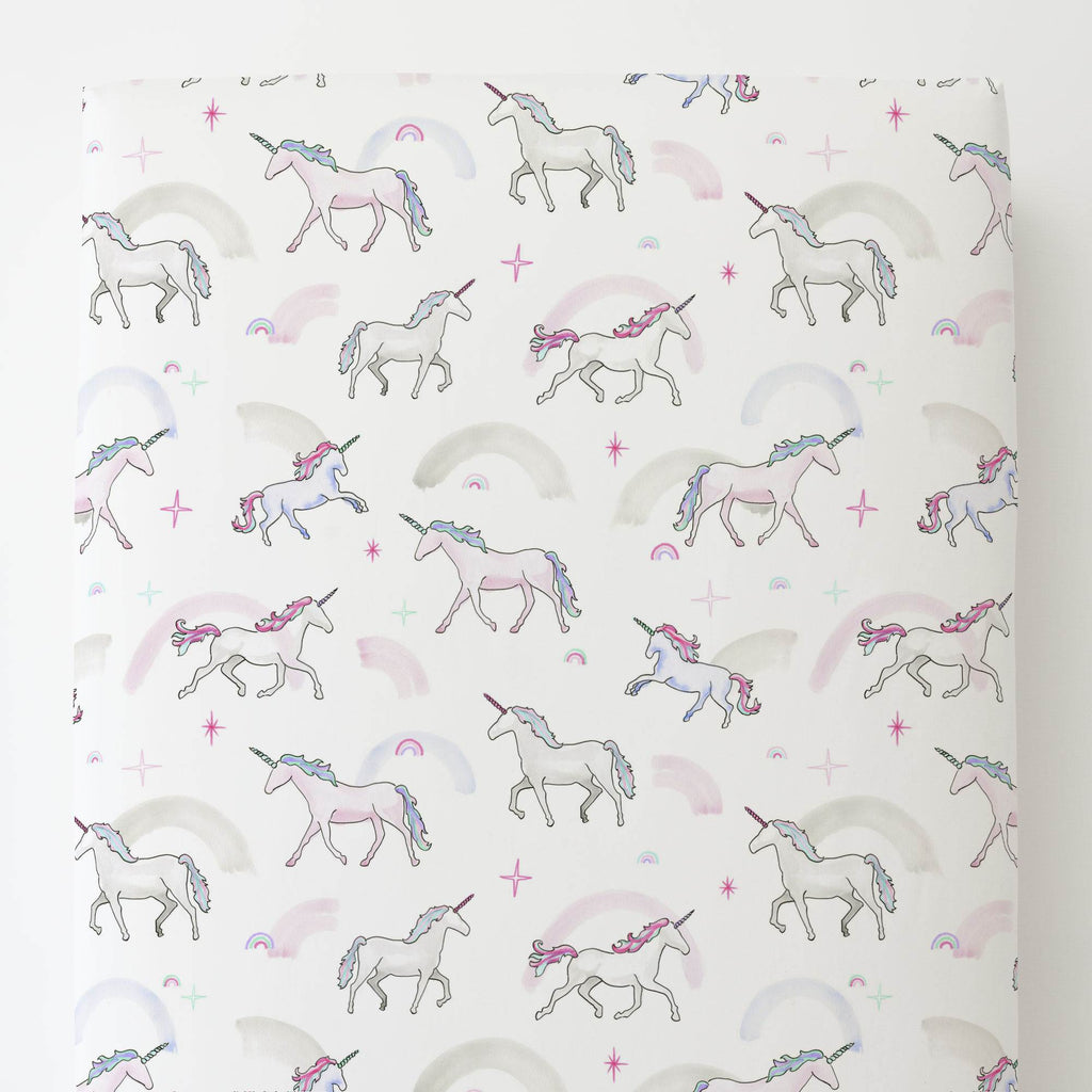 Product image for Watercolor Unicorns Toddler Sheet Bottom Fitted