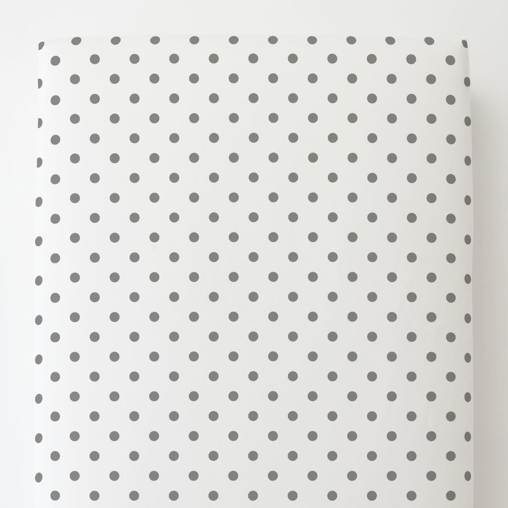 Product image for White and Gray Polka Dot Toddler Sheet Bottom Fitted