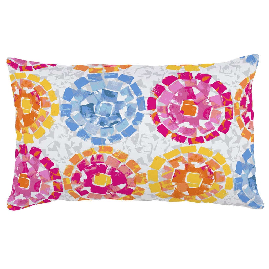 Product image for Pink and Blue Modern Mosaic Lumbar Pillow
