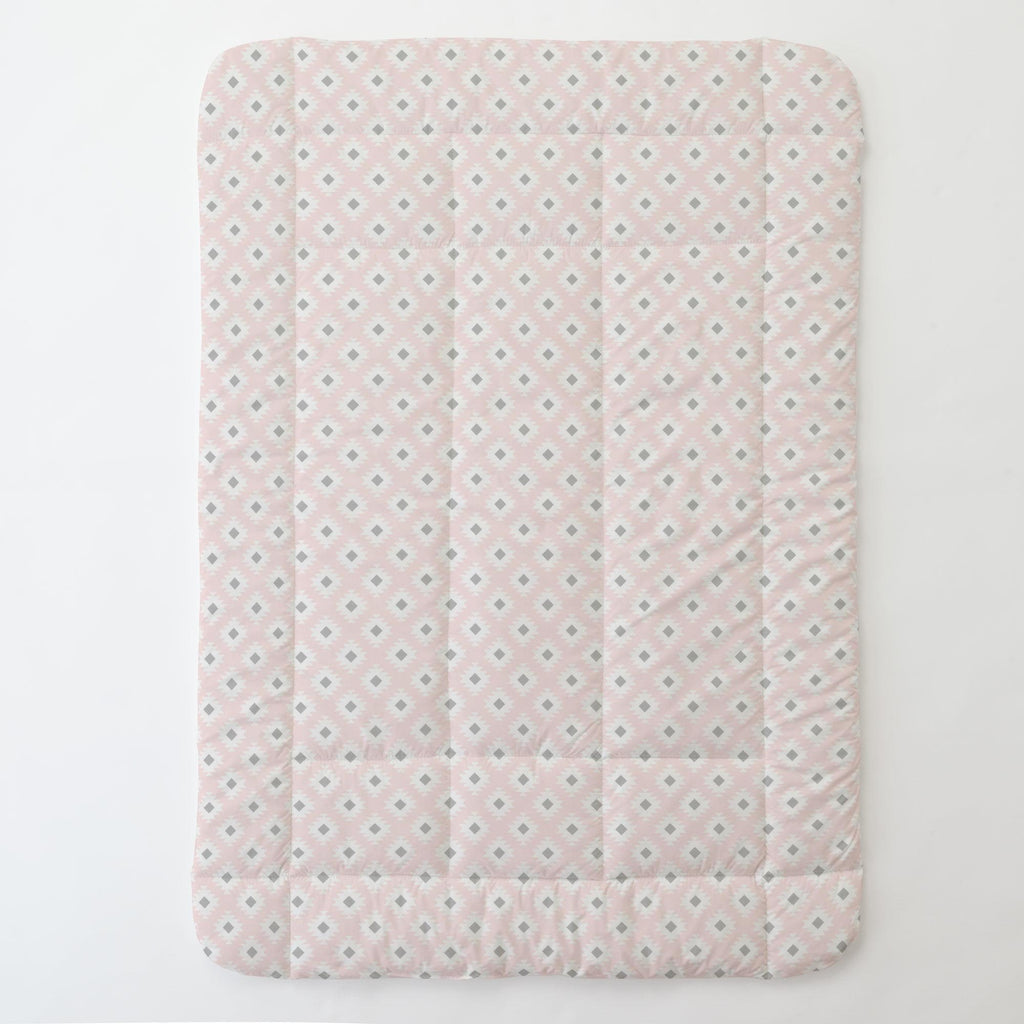 Product image for Blush Pink and Gray Aztec Toddler Comforter