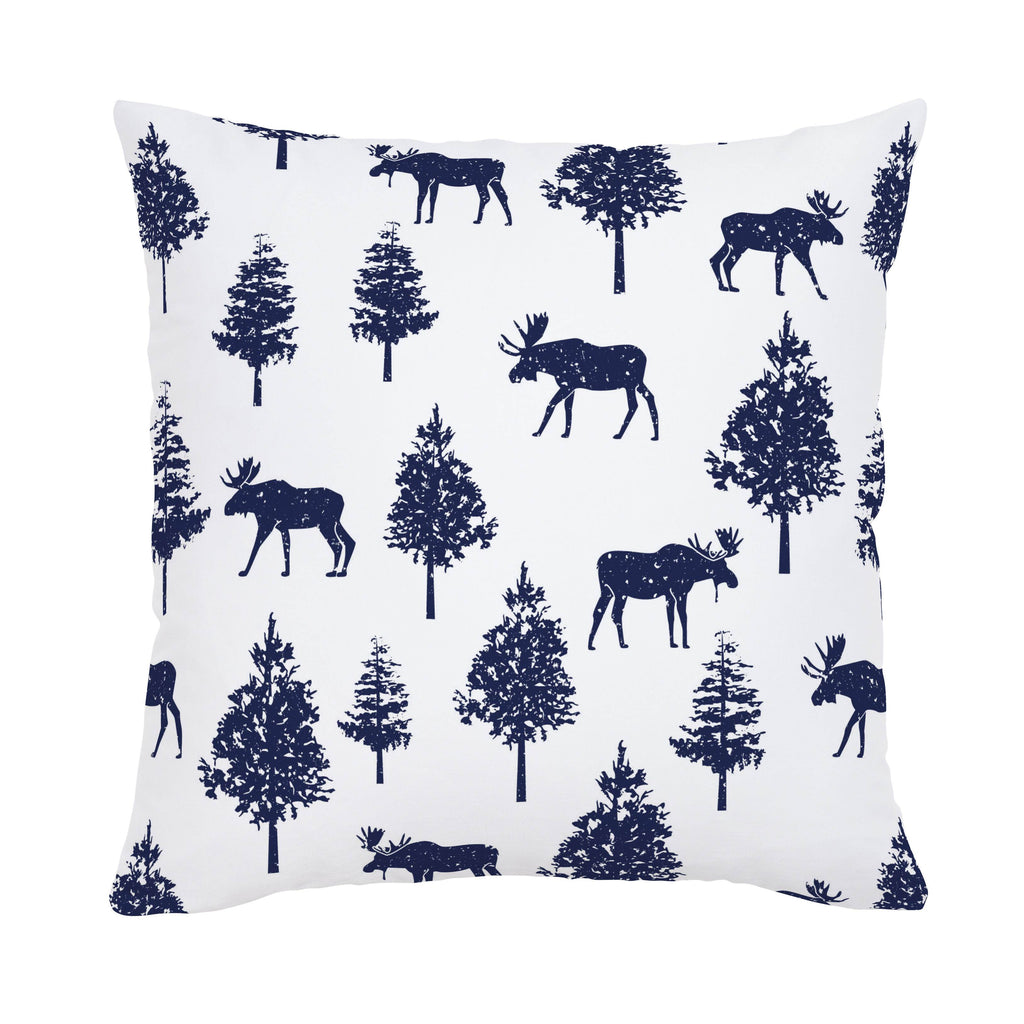 Product image for Navy Moose Throw Pillow