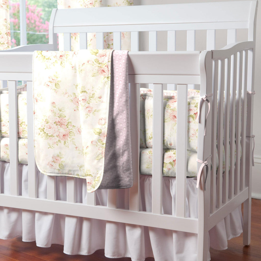 Product image for Pink Floral Mini Crib Bumper