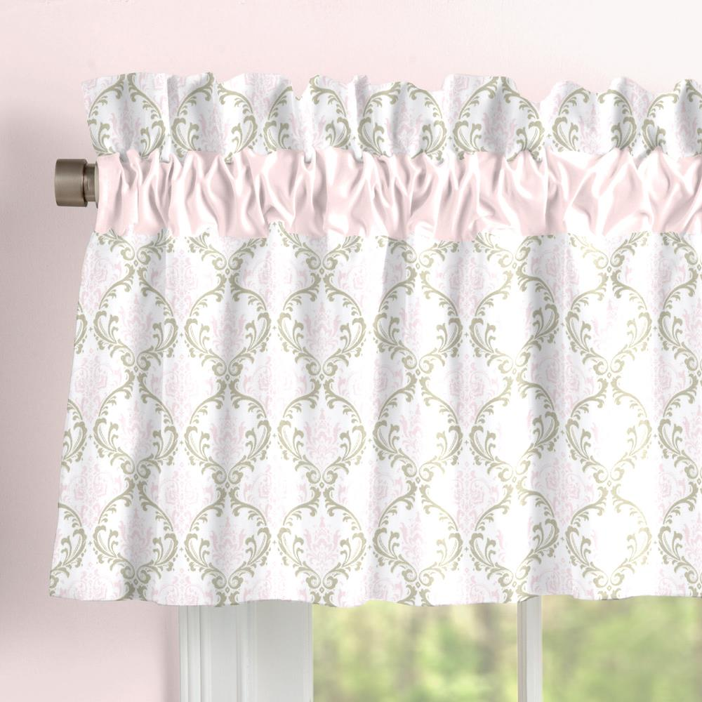 Product image for Pink and Taupe Damask Window Valance