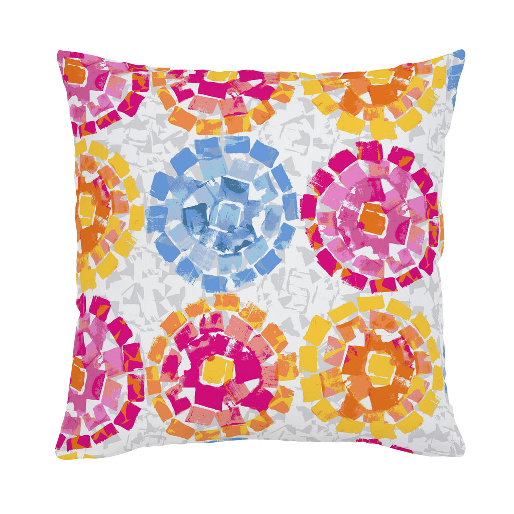 Product image for Pink and Blue Modern Mosaic Throw Pillow