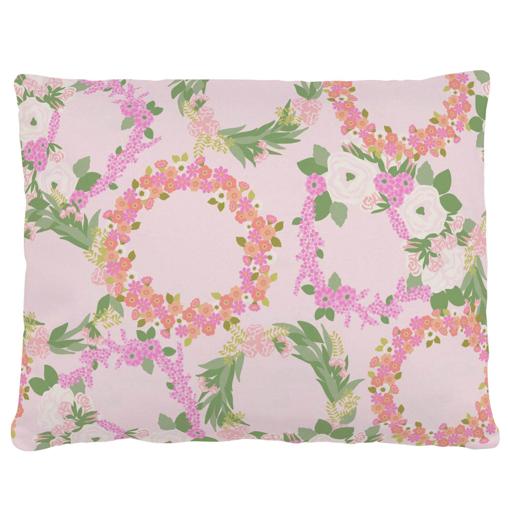 Product image for Pink and Coral Floral Wreath Accent Pillow