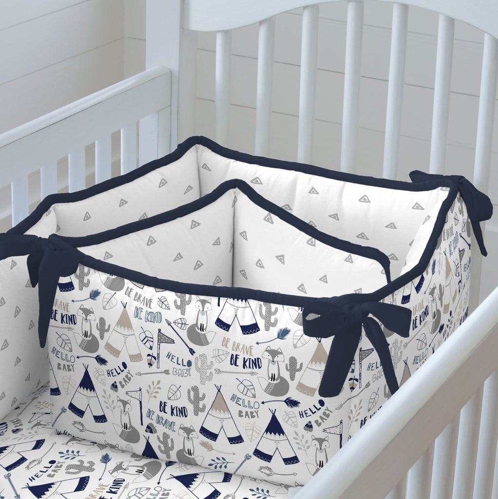 Product image for Navy Brave Fox Crib Bumper