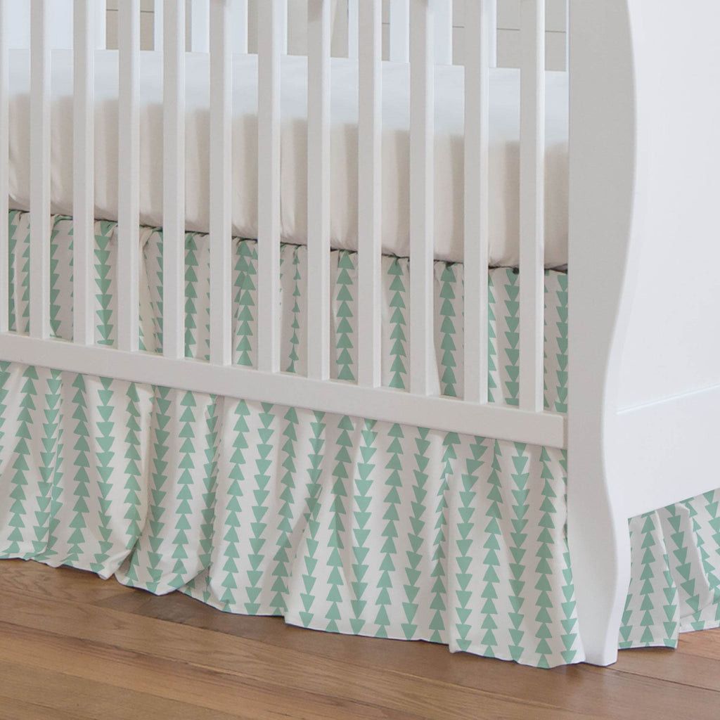 Product image for Mint Arrow Stripe Crib Skirt Gathered