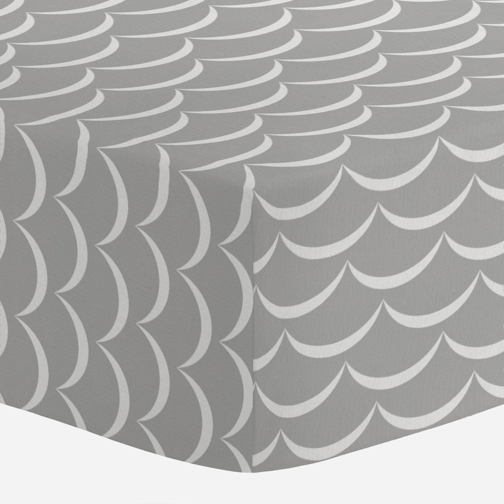 Product image for Silver Gray Waves Crib Sheet