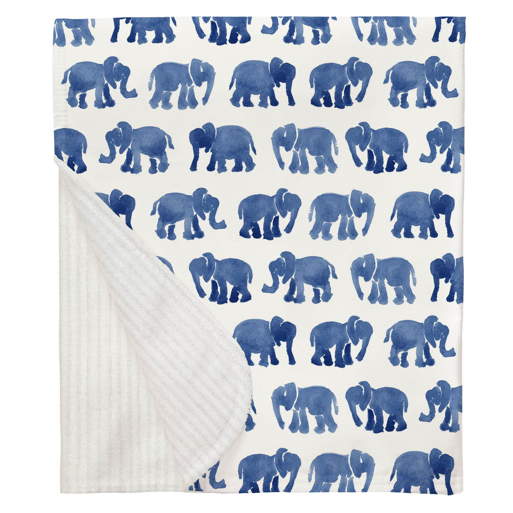 Product image for Blue Watercolor Elephants Baby Blanket