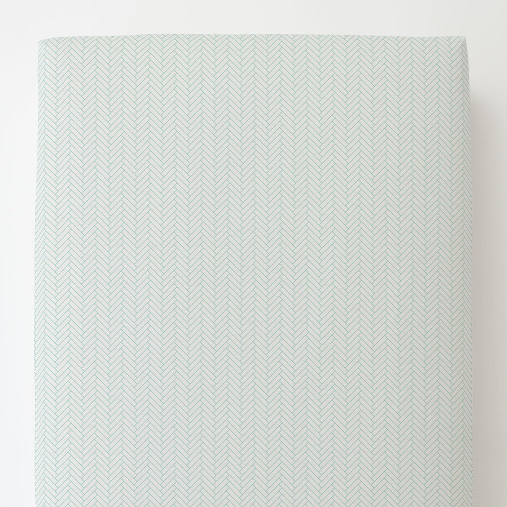 Product image for White and Mint Classic Herringbone Toddler Sheet Bottom Fitted