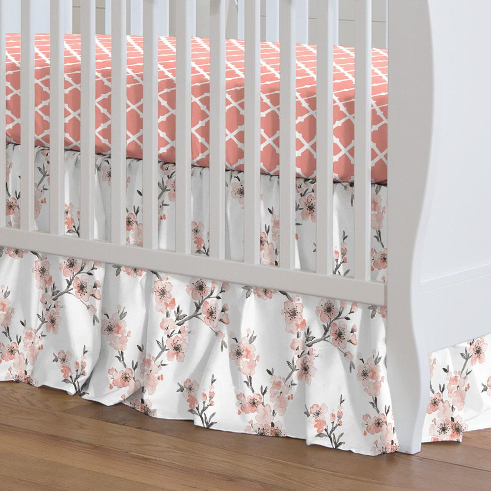 Product image for Light Coral Cherry Blossom Crib Skirt Gathered