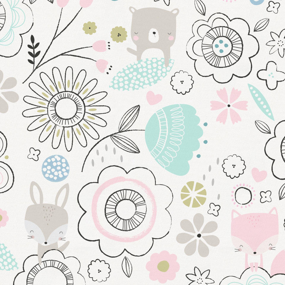 Product image for Pink Spring Doodles Fabric