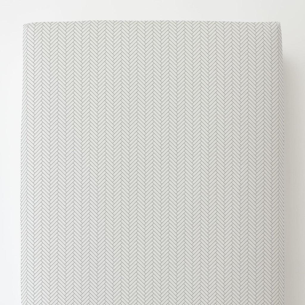 Product image for White and Cloud Gray Classic Herringbone Toddler Sheet Bottom Fitted