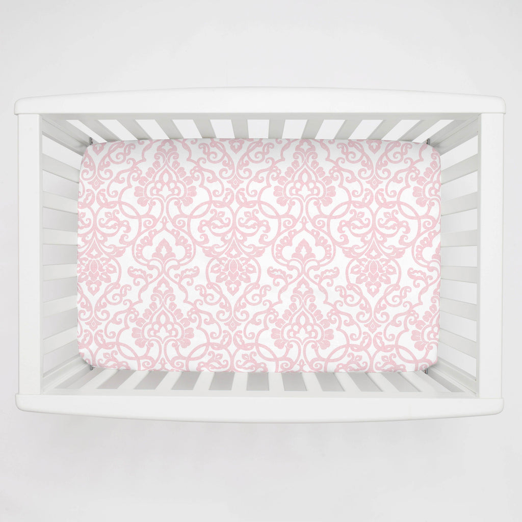 Product image for Pink Filigree Mini Crib Sheet