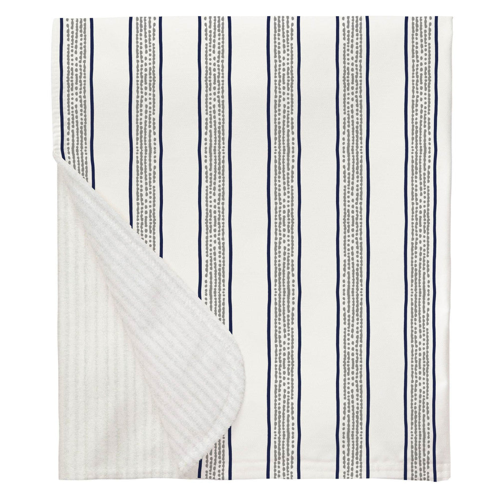 Product image for Navy and Gray Beach Stripe Baby Blanket