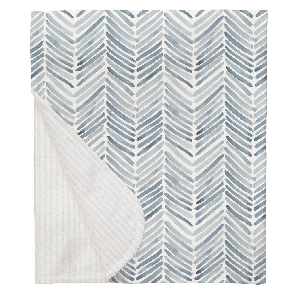 Product image for Steel Blue Painted Chevron Baby Blanket