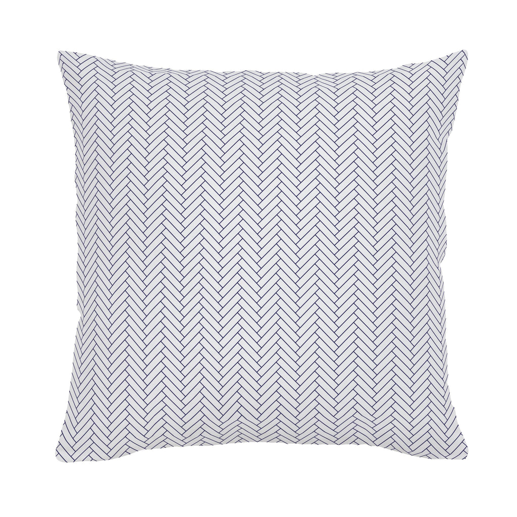 Product image for White and Navy Classic Herringbone Throw Pillow