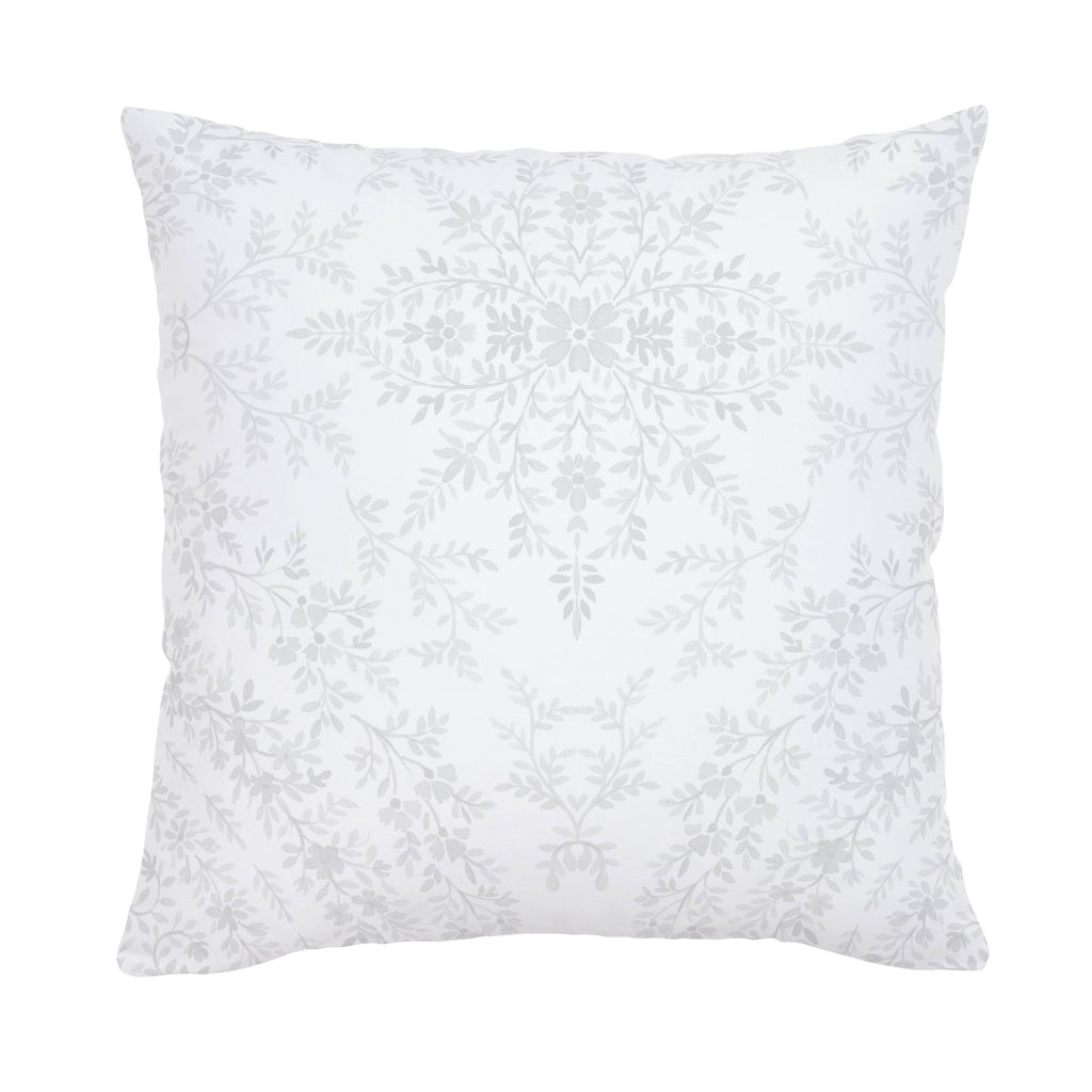 Product image for Gray Floral Damask Throw Pillow