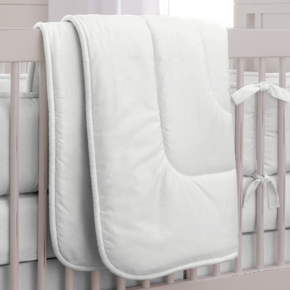 Product image for Solid Antique White Crib Comforter with Piping
