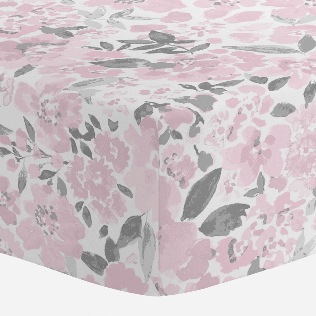 Product image for Pink and Gray Prairie Floral Crib Sheet