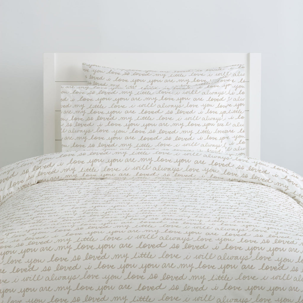 Product image for Taupe Love Words Duvet Cover