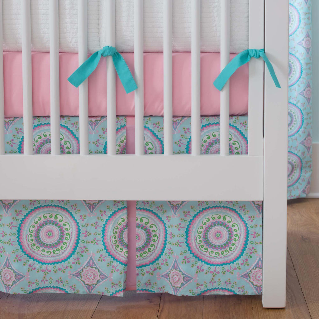 Product image for Aqua Haute Circles Crib Skirt Two-Pleat