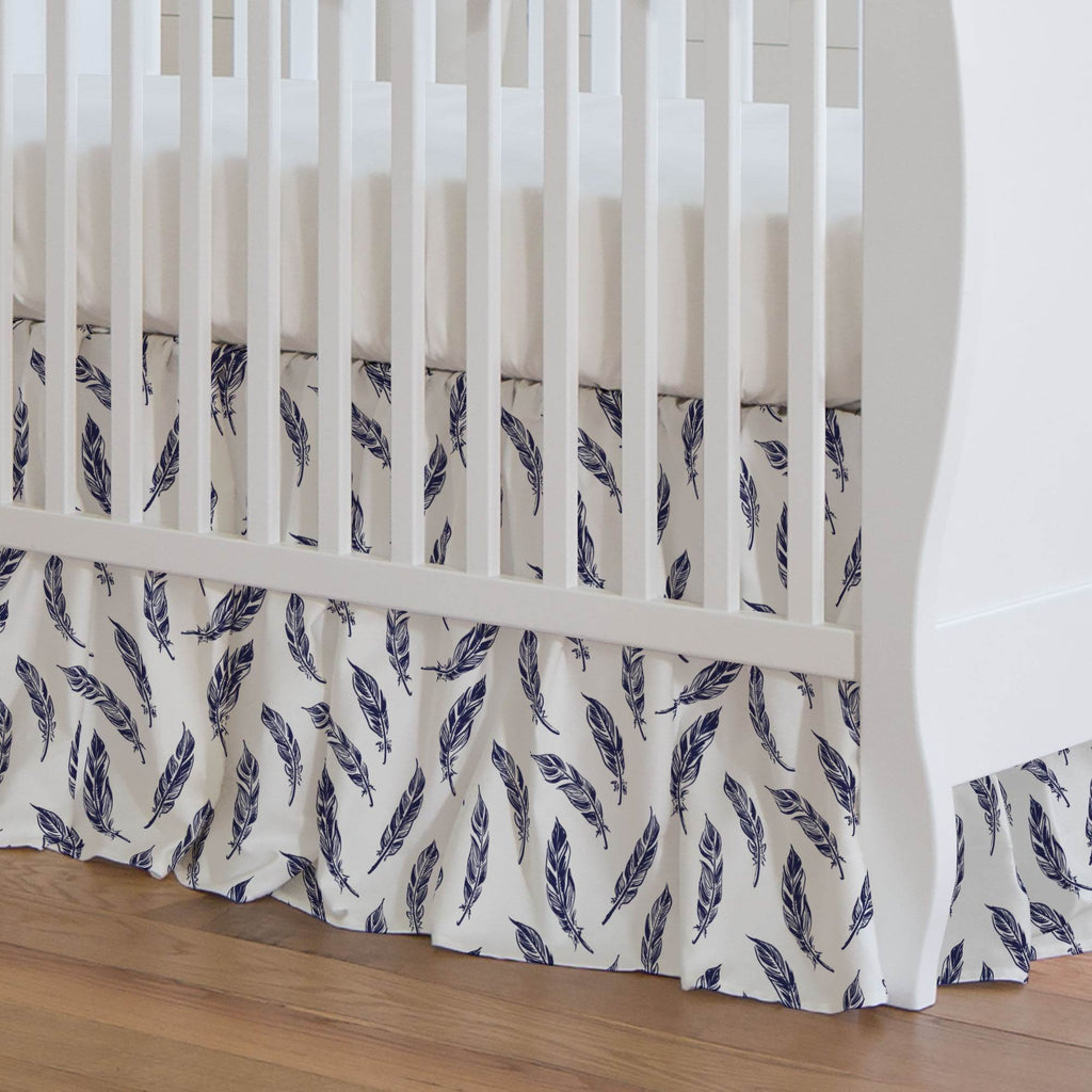 Product image for Navy Hand Drawn Feathers Crib Skirt Gathered