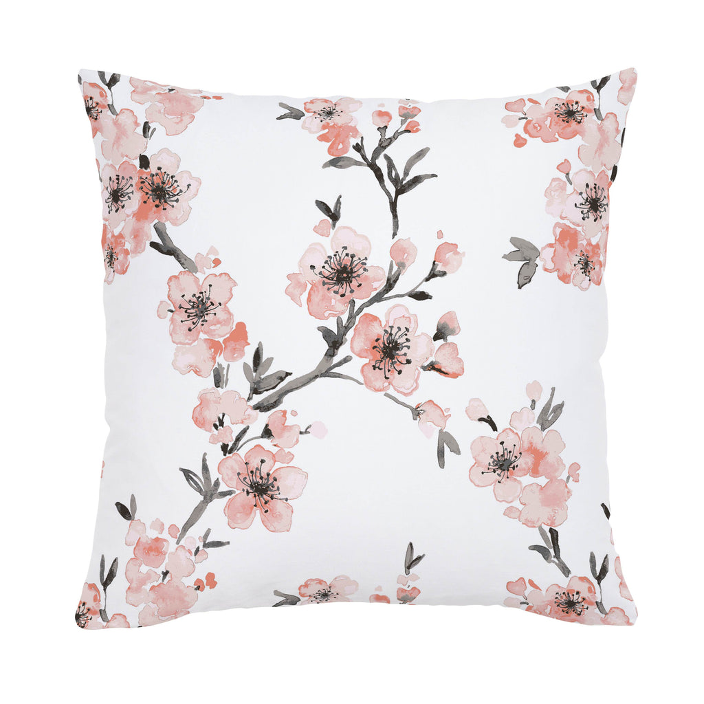 Product image for Light Coral Cherry Blossom Throw Pillow