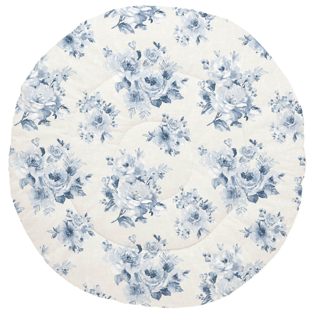 Product image for Blue Farmhouse Floral Baby Play Mat