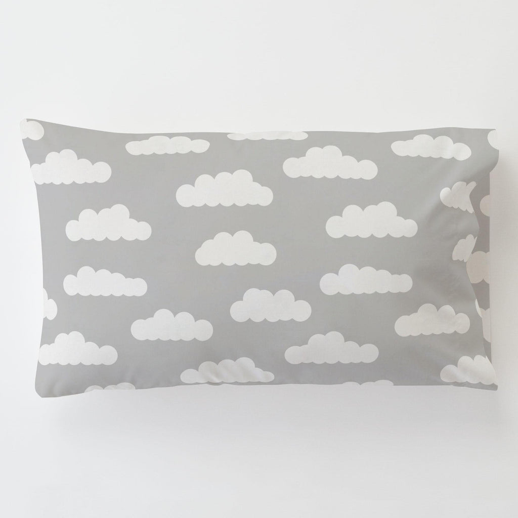 Product image for Silver Gray and White Clouds Toddler Pillow Case with Pillow Insert