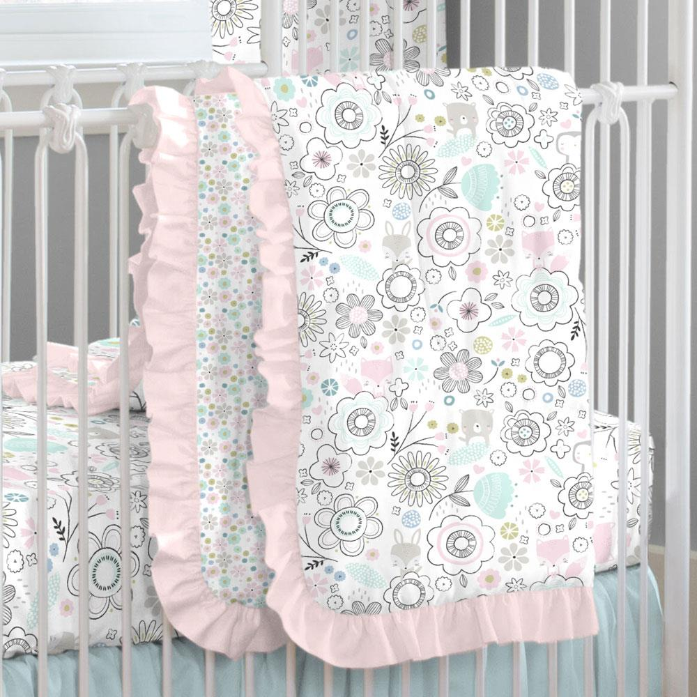 Product image for Pink Spring Doodles Crib Comforter with Ruffle