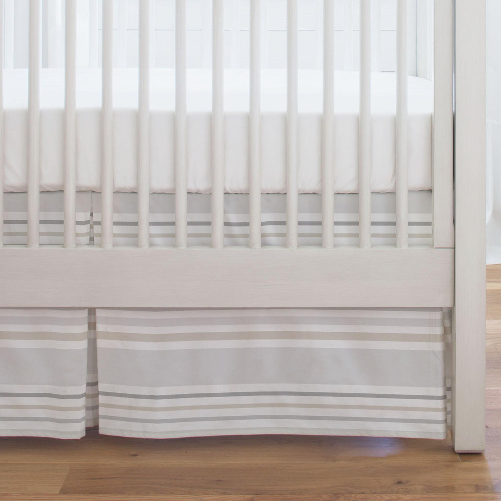 Product image for French Gray and Taupe Summer Stripe Crib Skirt Single-Pleat