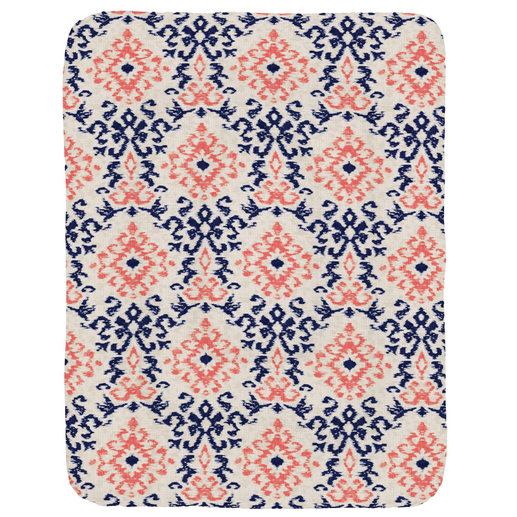 Product image for Navy and Coral Ikat Damask Crib Comforter