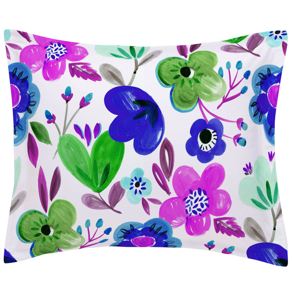 Product image for Purple Painted Flowers Pillow Sham