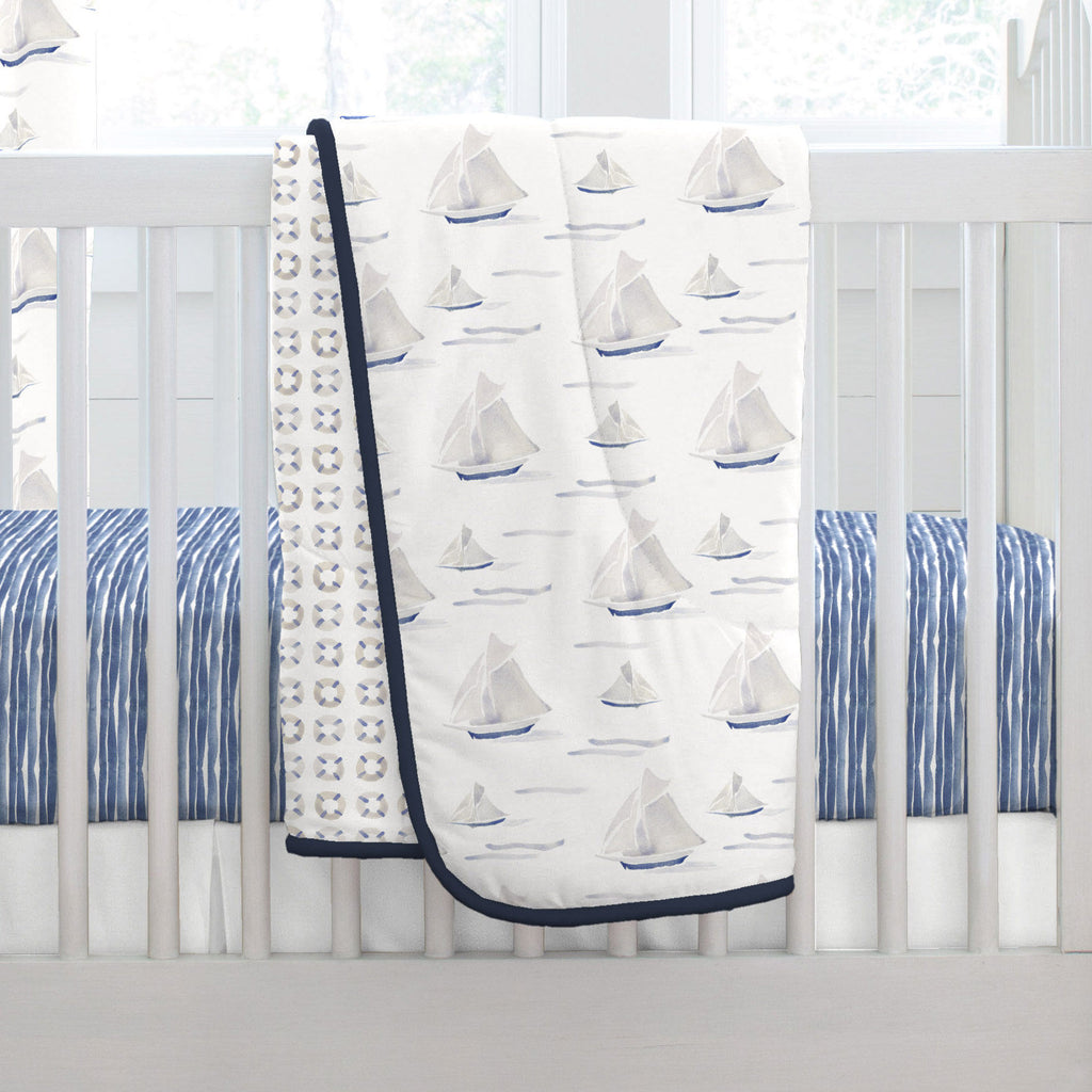 Product image for Watercolor Sailboats Crib Comforter with Piping