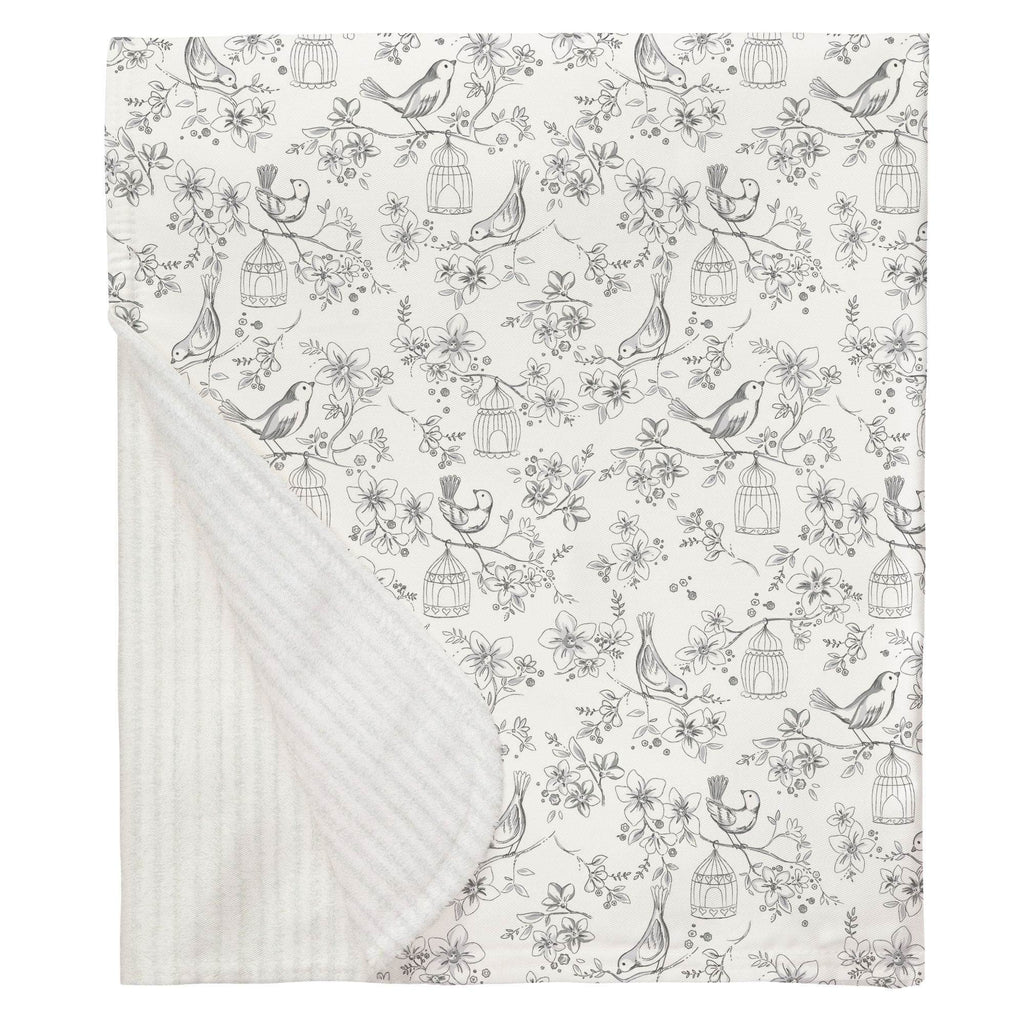 Product image for White and Gray Bird Cage Baby Blanket