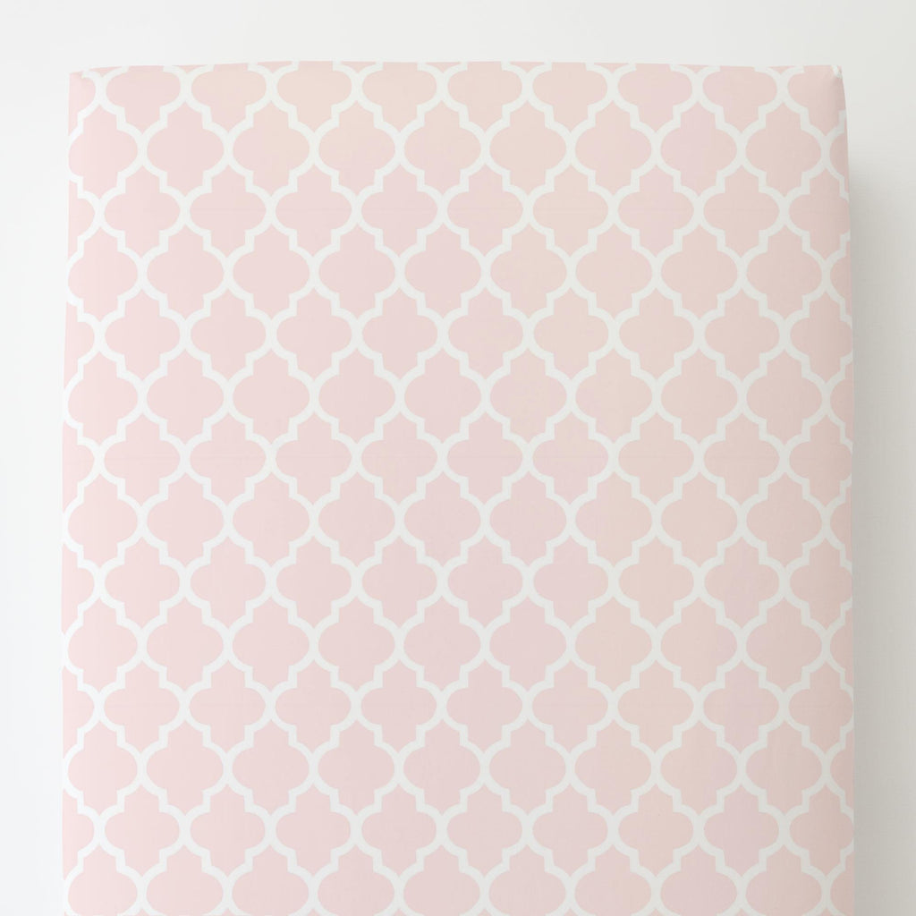 Product image for Blush Pink Hand Drawn Quatrefoil Toddler Sheet Bottom Fitted