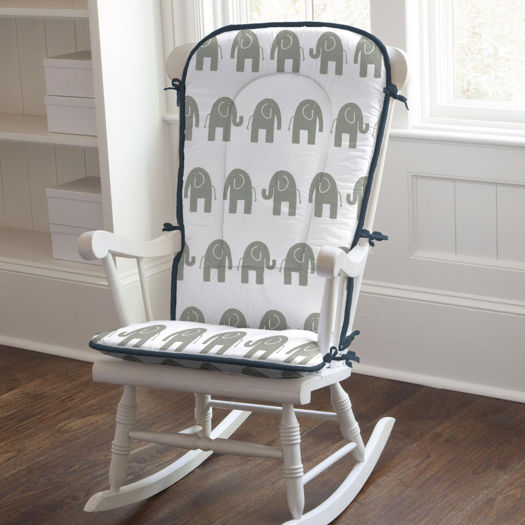 Product image for Navy and Gray Elephants Rocking Chair Pad