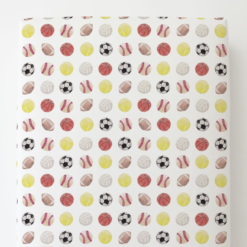 Product image for Watercolor Sports Toddler Sheet Bottom Fitted