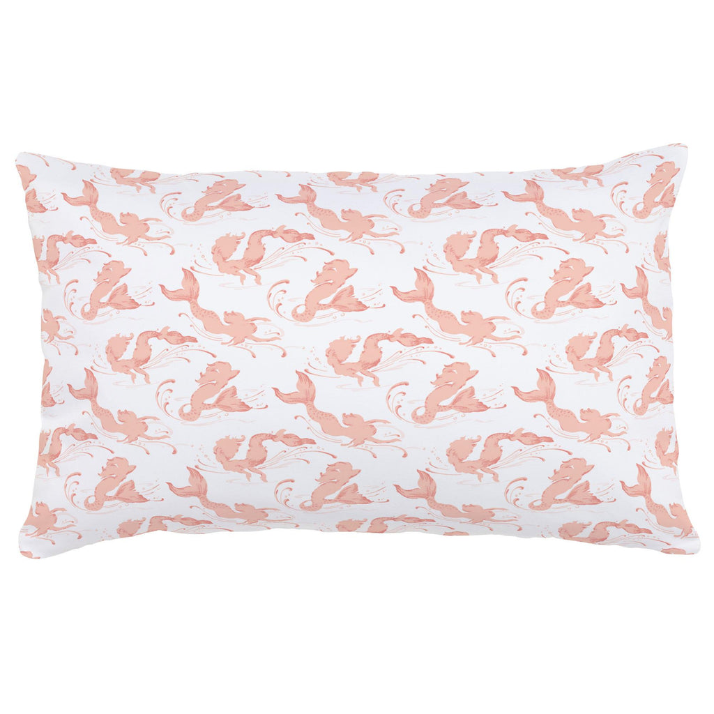 Product image for Peach Swimming Mermaids Lumbar Pillow