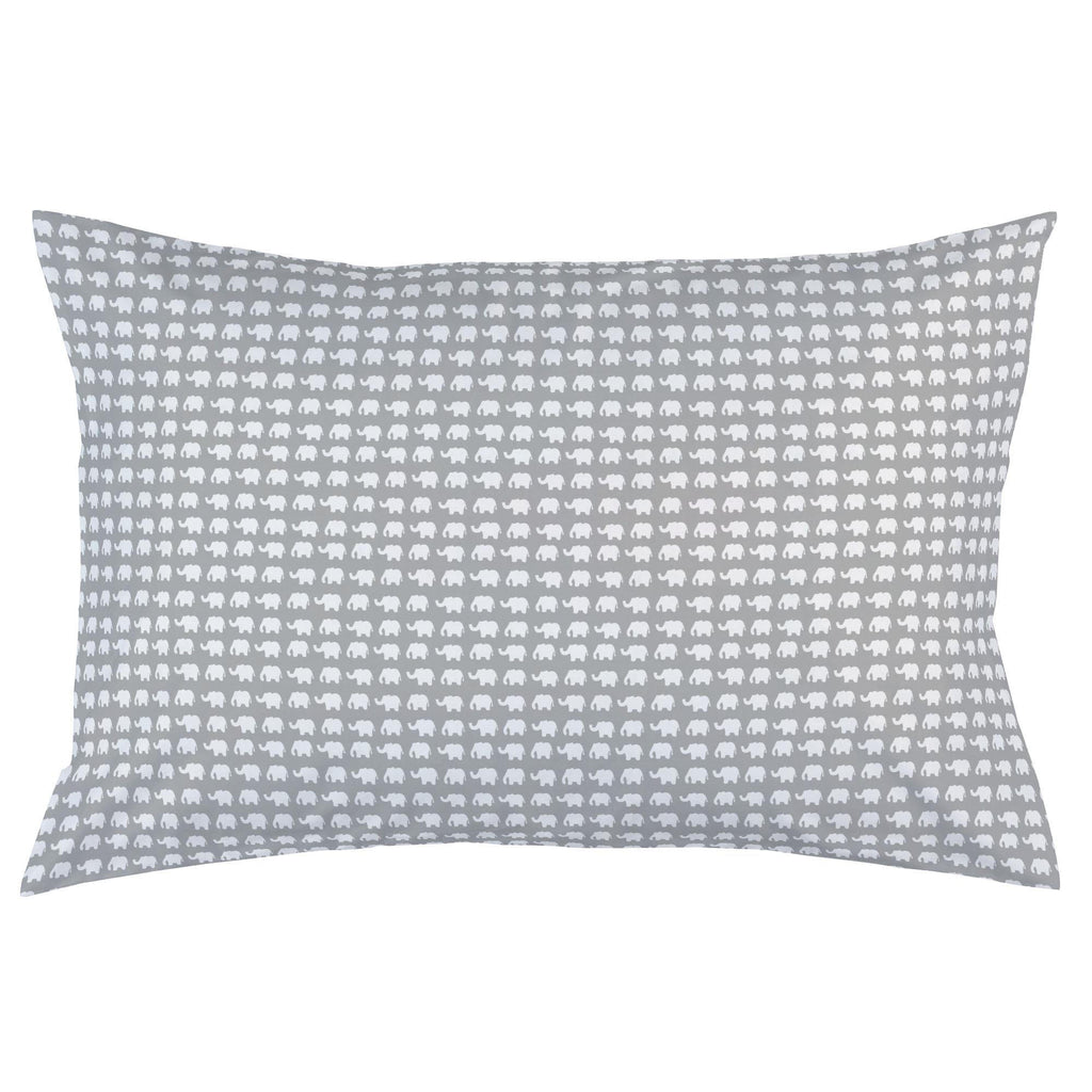 Product image for Gray and White Elephant Parade Pillow Case