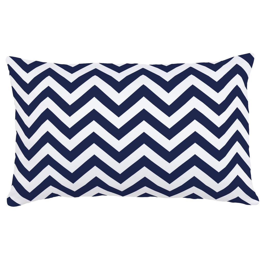 Product image for White and Navy Zig Zag Lumbar Pillow