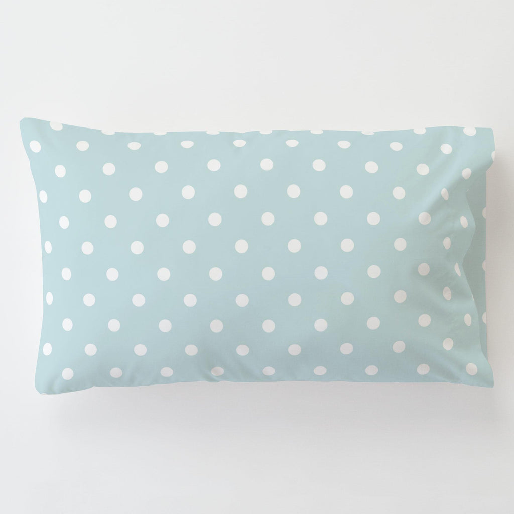 Product image for Mist and White Polka Dot Toddler Pillow Case with Pillow Insert