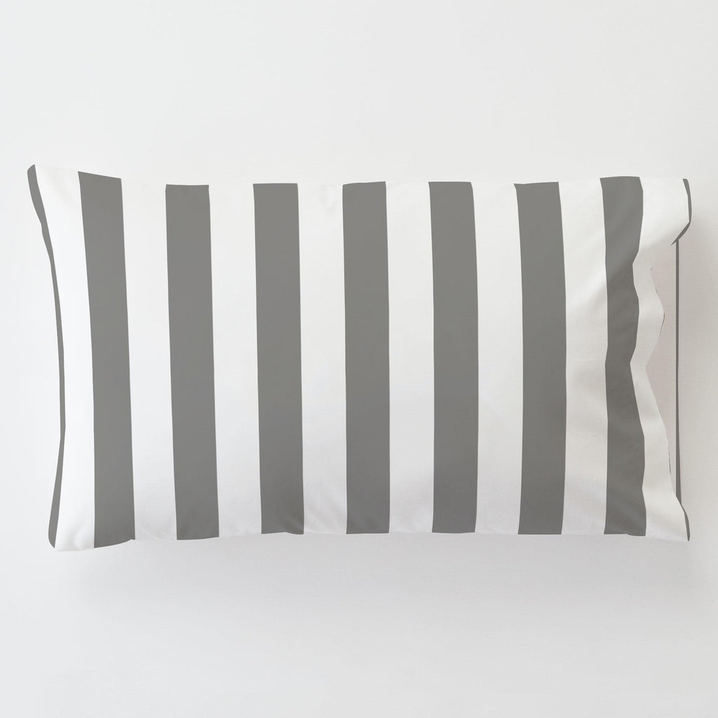 Product image for White and Gray Stripe Toddler Pillow Case with Pillow Insert