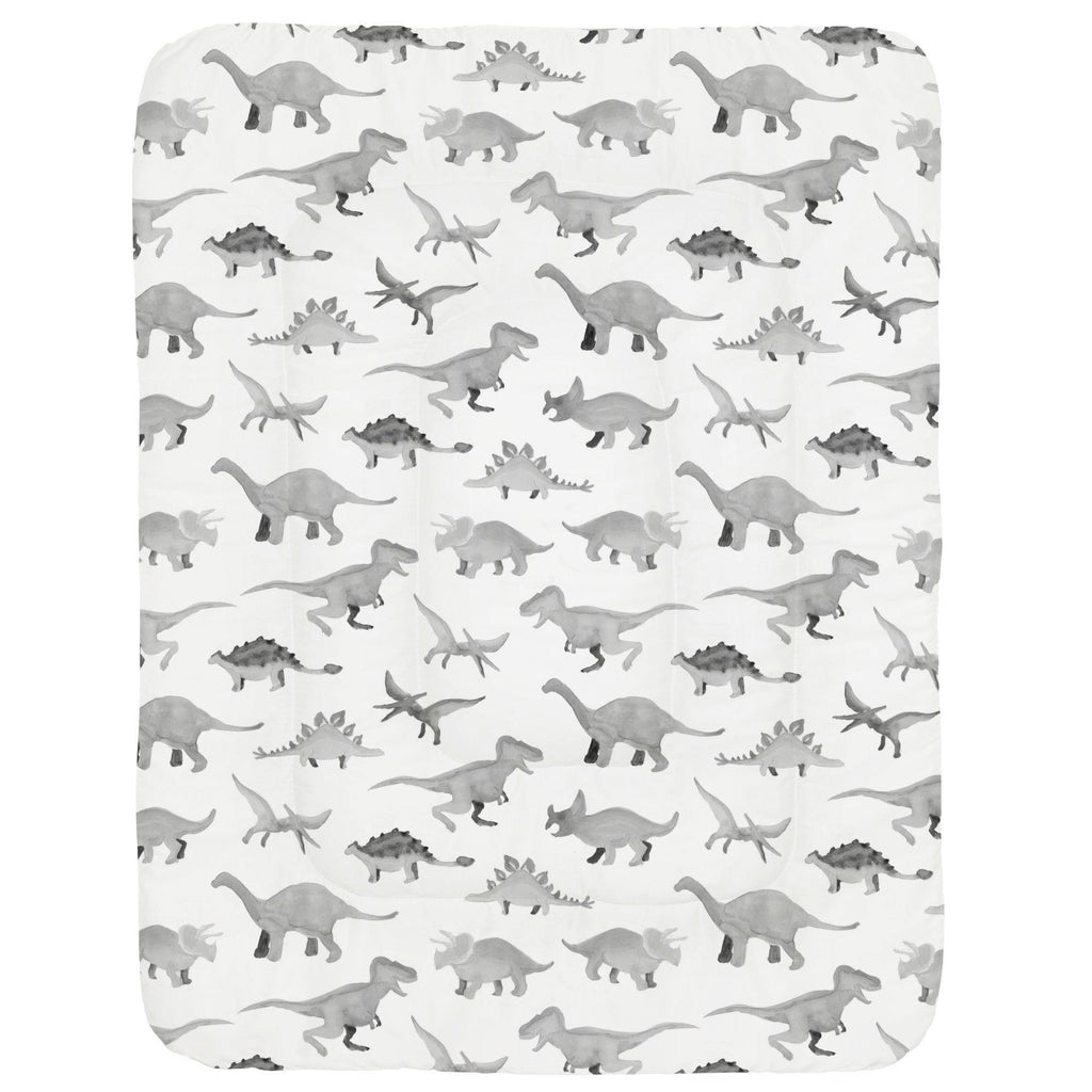 Product image for Gray Watercolor Dinosaurs Crib Comforter