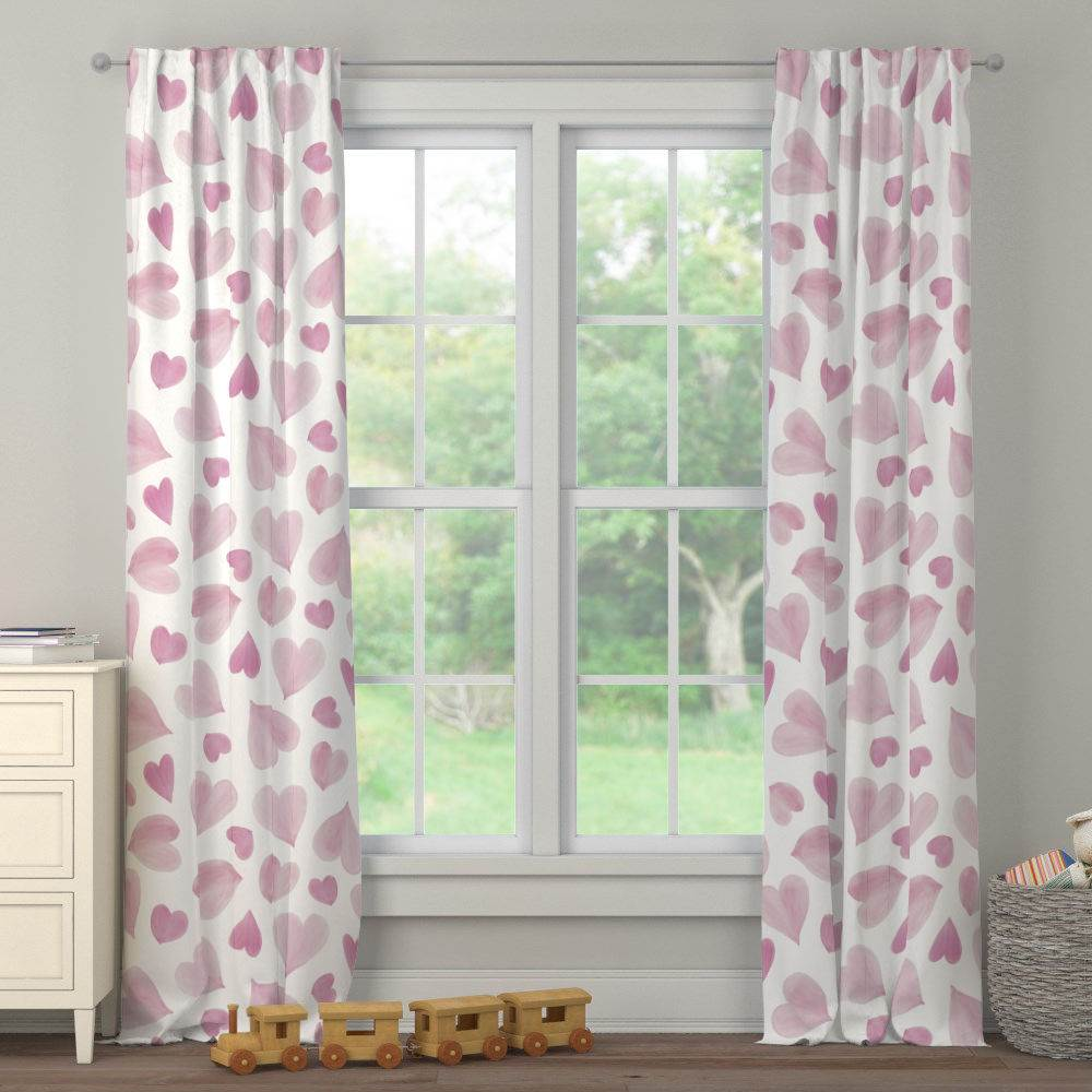 Product image for Pink Watercolor Hearts Drape Panel