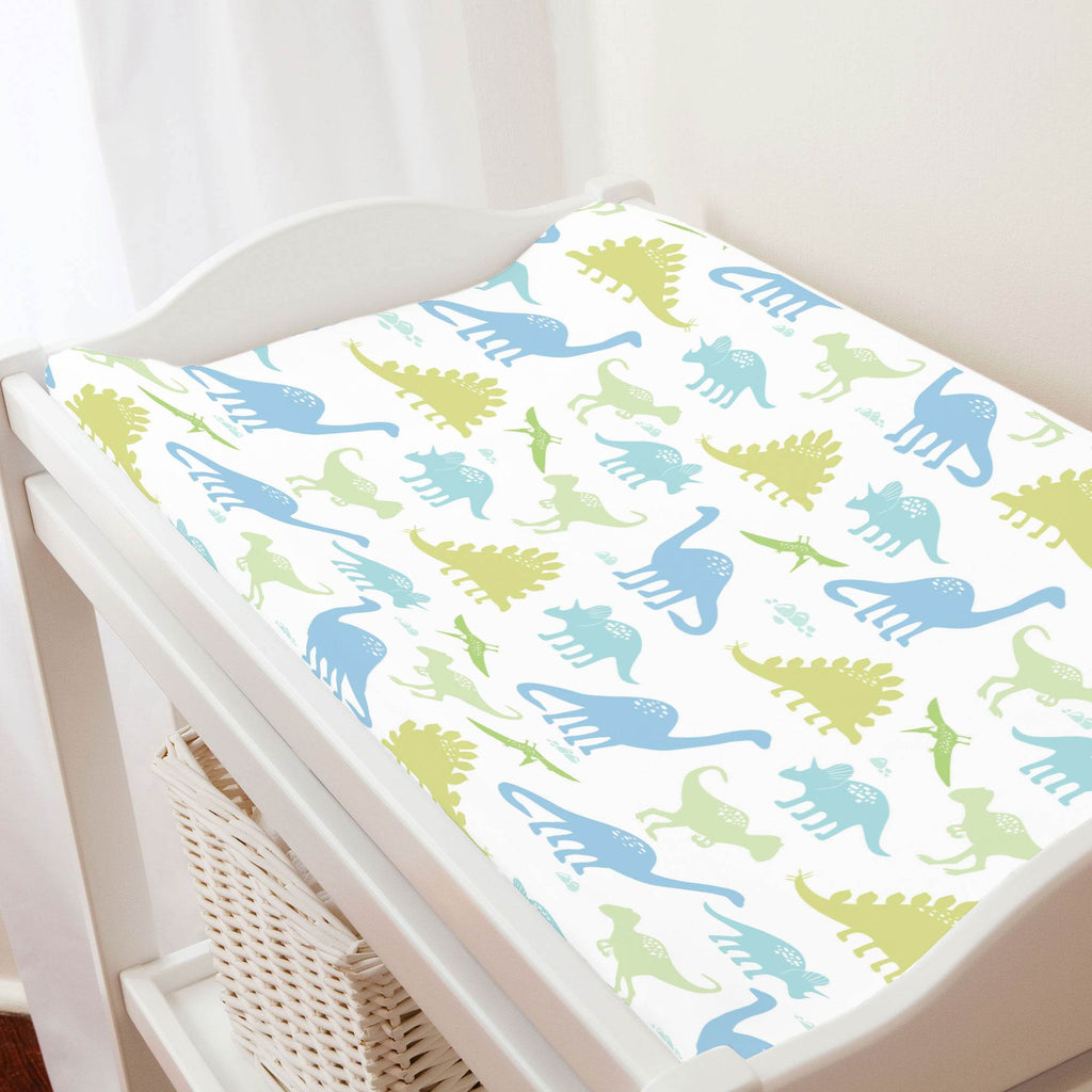 Product image for Seafoam Aqua and Pastel Green Dinosaurs Changing Pad Cover