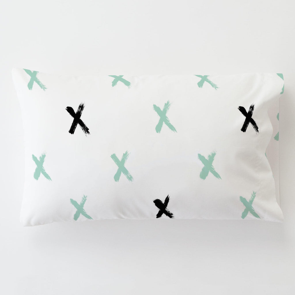 Product image for Mint and Onyx Brush X Toddler Pillow Case with Pillow Insert